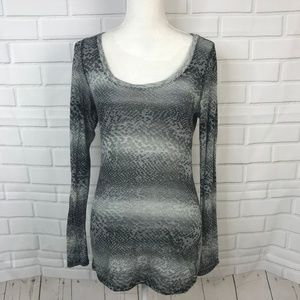 Express Top Tunic Gray Shirt Snakeskin Print Long